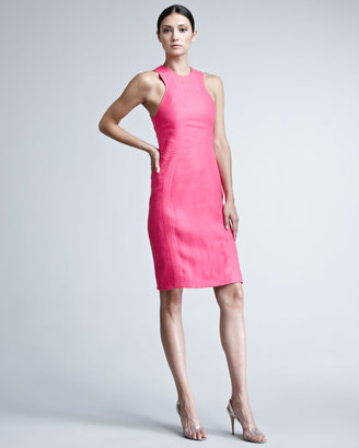 Chado Ralph Rucci Rib-Trim Linen Dress