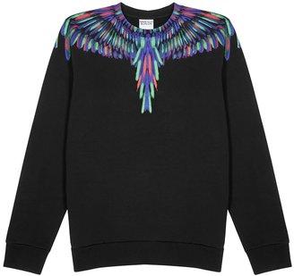 Marcelo Burlon County of Milan Chalk Wings Black Printed Cotton Sweatshirt