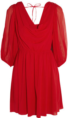 Alice + Olivia Brielle draped silk-blend crepe dress