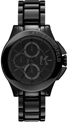 Karl Lagerfeld Watch, Women's Chronograph Black Ion-Plated Stainless Steel Bracelet 40mm KL1402