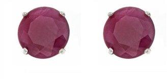 5mm Round Precious Gemstone Stud Earrings, 14KWhite Gold