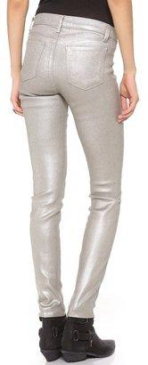 J Brand 485 Super Skinny Gloss Metallic Jeans