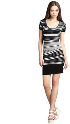 Nicole Miller Artelier black and white striped cap sleeve sweater dress
