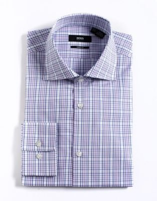 HUGO BOSS Checked Cotton Dress Shirt