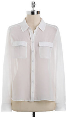 GUESS Laced-Back Button-Front Blouse