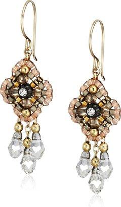 Miguel Ases Pink Clover Swarovski 14k Gold Filled Dangle Earrings