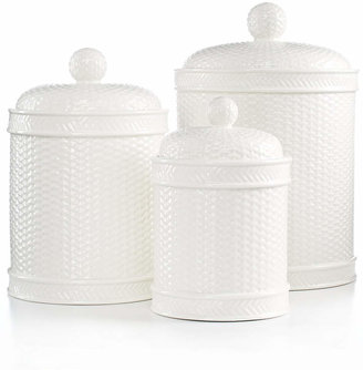 Martha Stewart Collection Set of 3 Whiteware Basketweave Canisters