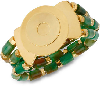 Robert Lee Morris Bracelet, Gold-Tone Green Resin Multi-Row Stretch Bracelet