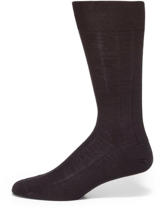 Saks Fifth Avenue Made In Italy Wide Ribbed Merino Wool Dress Socks