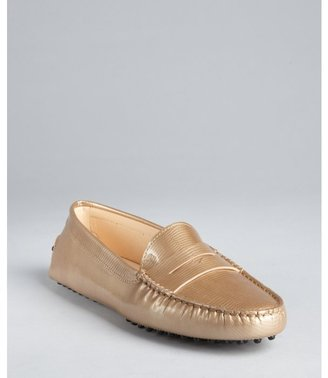 Tod's gold lizard embossed patent leather penny loafers