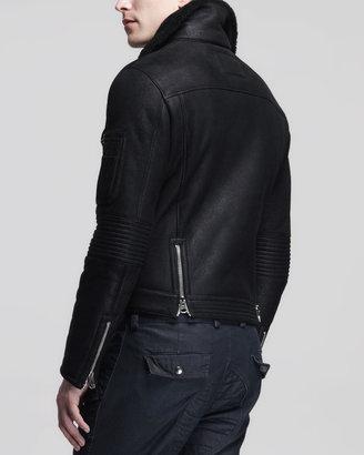Michael Bastian Shearling Moto Jacket, Black
