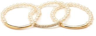Forever 21 Dainty Faux Pearl Bracelet Set