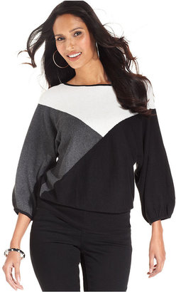 Style&Co. Sweater, Three-Quarter-Sleeve Colorblock Boat-Neck
