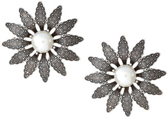 Asos Medieval Style Oversized Flower Stud Earrings with Pearl Centre (+)