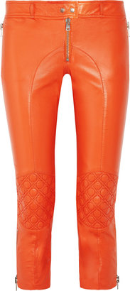 McQ by Alexander McQueen Cropped leather skinny biker pants