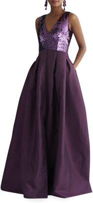 Sachin + Babi Sequin-Bodice V-Neck Sleeveless Gown