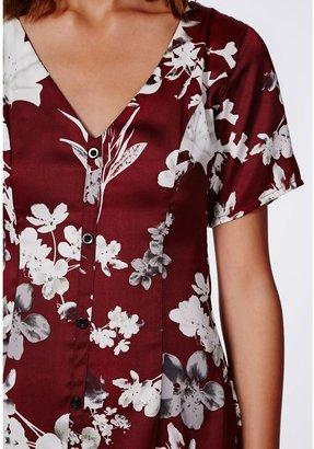 Missguided Nicola Button Through Silky Swing Dress Oxblood Print