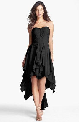 Adrianna Papell Pleat Chiffon High/Low Dress (Online Only)