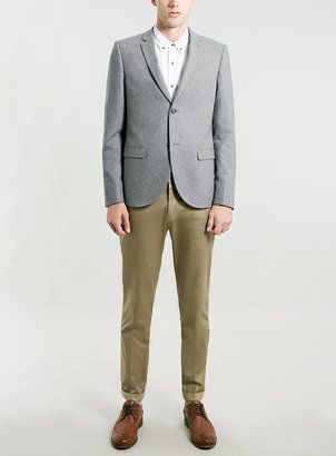 Topman Light Grey Skinny Fit Flanel Blazer