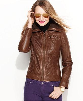 MICHAEL Michael Kors Jacket, Leather Bomber
