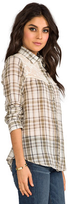 Free People Plaid Saddle Button Down