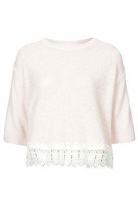 Topshop Nude ribbed knitted short sleeve top with cream lace hem detail. 100% acrylic. machine washable.