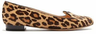 Charlotte Olympia Kitty Leopard Print Calf Hair Flats - Womens - Brown Multi