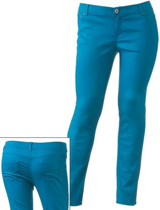 So ® iridescent color skinny jeans - juniors' plus