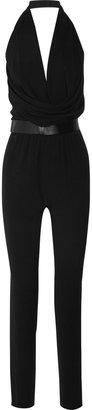 Halston Belted crepe jumpsuit