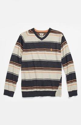 Volcom 'Understated' Stripe V-Neck Sweater (Little Boys)