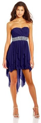 My Michelle Juniors Sweetheard Neckline High-Low Dress with Sequin Waistband
