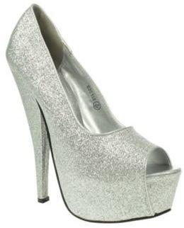 Silver Krasceva Glitter Trim Platform Court Shoes