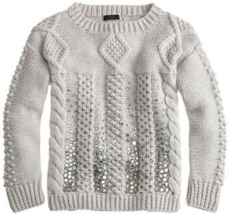 J.Crew Collection handknit jeweled cable sweater