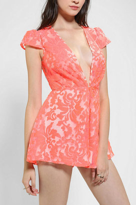 Urban Outfitters Cameo Neon Operator Deep-V Romper