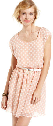 Amy Byer BCX Juniors Dress, Cap-Sleeve Polka-Dot A-Line
