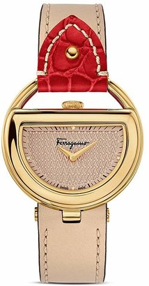 Salvatore Ferragamo Ferragamo Special Edition Beige and Red Buckle Watch, 37mm $1,395 thestylecure.com