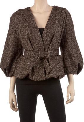 Max Studio Heathered Wool Tweed Blouson Jacket
