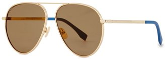 Fendi Gold-tone Aviator-style Sunglasses