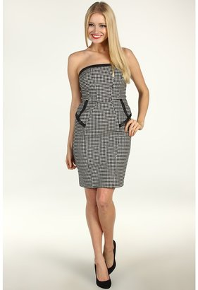 ABS by Allen Schwartz Bustier Dress w/Leather Binding (Black/Ivory) - Apparel