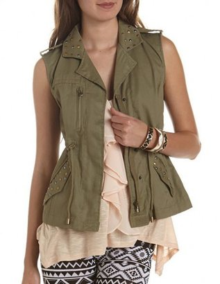 Charlotte Russe Studded Canvas Military Vest