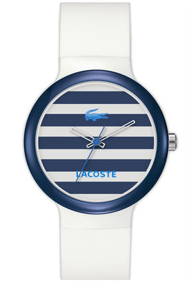 Lacoste 'Goa' Stripe Silicone Strap Watch
