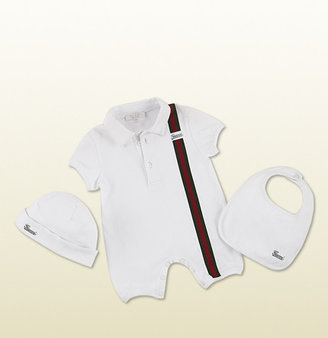 Gucci Three-Piece Gift Set Includes Short Sleeve Sleepsuit, Matching Hat And Bib.