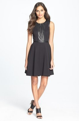 Rebecca Taylor Leather Accent Ponte Fit & Flare Dress