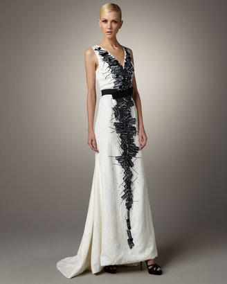 Carolina Herrera Contrast-Detailed Gown