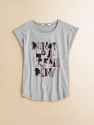 DKNY Girl's Dance Love Dream Logo Tee