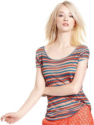Kensie Top, Short-Sleeve Multi-Color Striped Tee