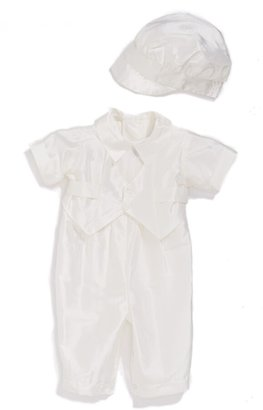 Little Things Mean a Lot Silk Dupioni Romper and Hat Set