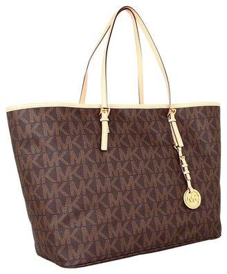 MICHAEL Michael Kors Jet Set Travel Logo Medium Tote (Brown) - Bags and Luggage