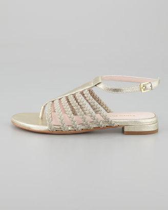 Taryn Rose Italia Stretch Braided Ankle-Strap Sandal, Soft Gold