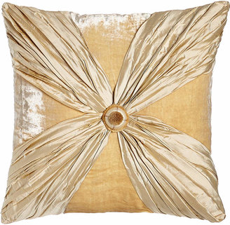 """Dian Austin Couture Home Neutral Modern Crushed Silk/Velvet Pillow with Rosette, 20""""Sq."""